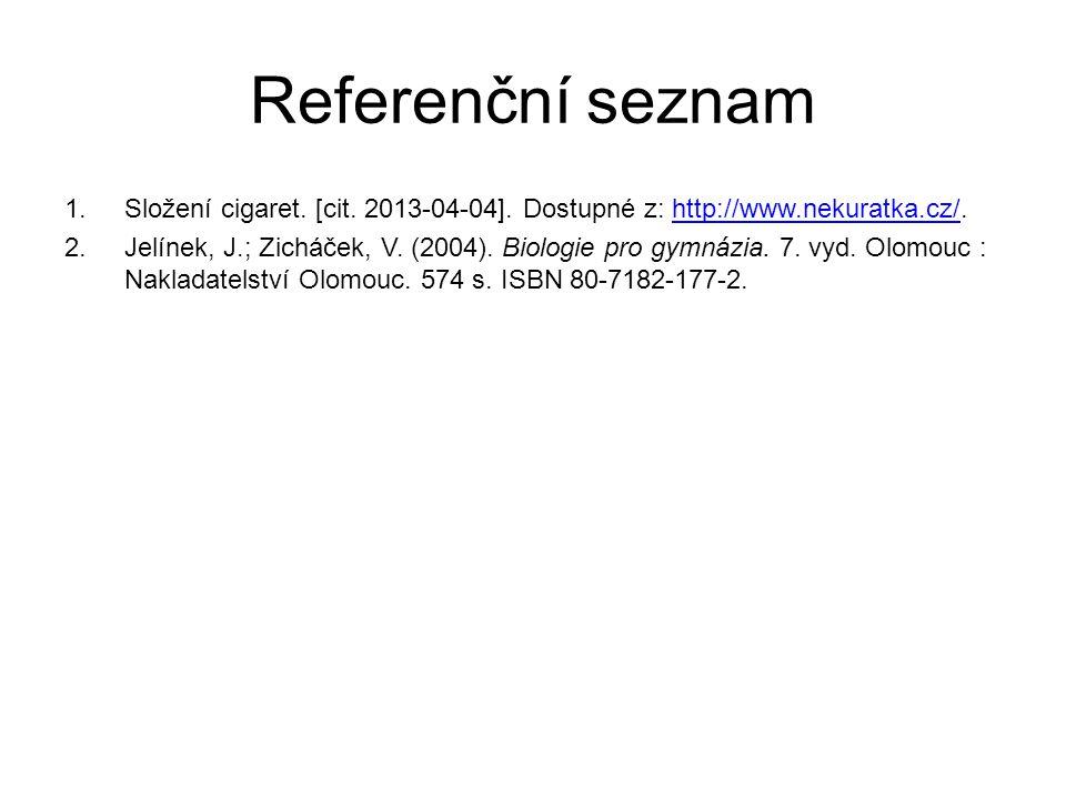 Referenční seznam Složení cigaret. [cit. 2013-04-04]. Dostupné z: http://www.nekuratka.cz/.